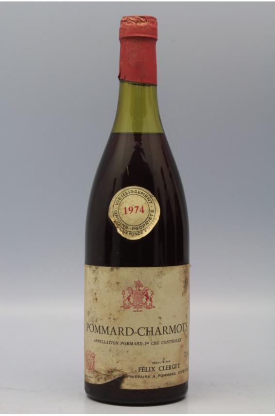 Clerget Pommard 1er cru Charmots 1974