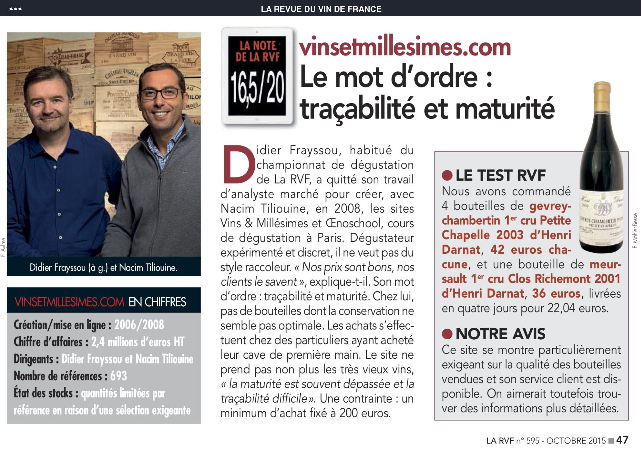 Avis vinsetmillesimes.com Article RVF