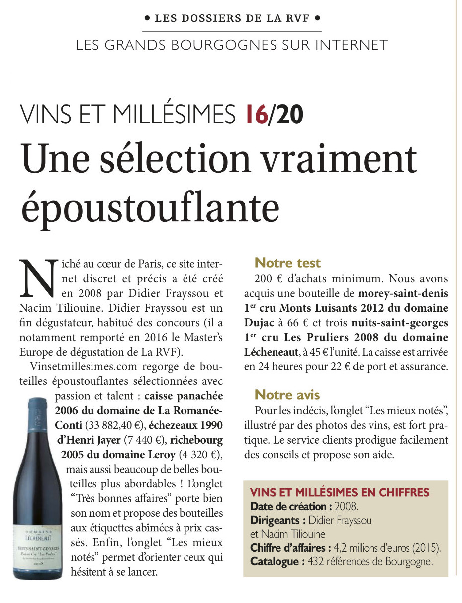 Avis vinsetmillesimes.com Article RVF Bourgogne