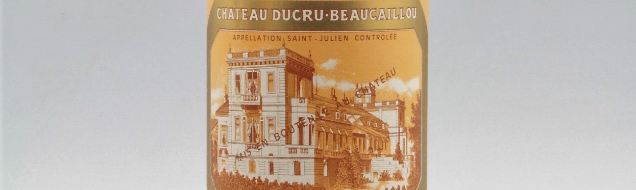 The picture shows a grand cru bottle of Ducru Beaucaillou wine from Bordeaux