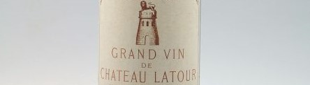 The picture shows a grand cru bottle of Chateau Latour wine from Bordeaux