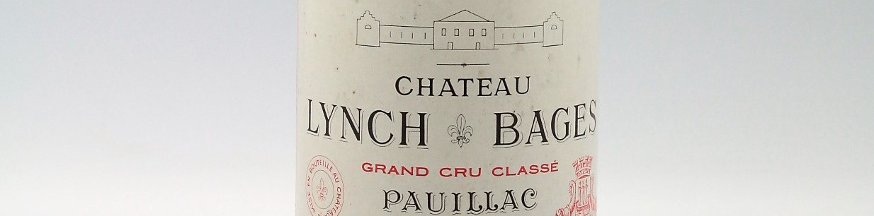 The picture shows a grand cru bottle of Chateau Lynch Bages wine from Bordeaux