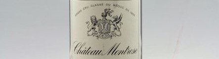 The picture shows a grand cru bottle of Chateau Montrose wine from Bordeaux