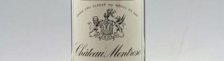 La photo montre une bouteille du grand vin du chateau montrose à saint estephe à Bordeaux