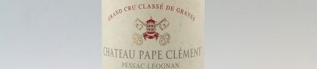 The picture shows a grand cru bottle of Chateau Pape Clement wine from Bordeaux