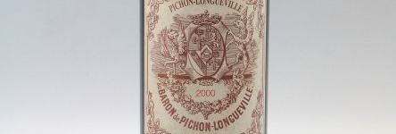 The picture shows a grand cru bottle of Chateau Pichon Longueville Baron wine from Bordeaux