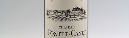 The picture shows a grand cru bottle of Chateau Pontet Canet wine from Bordeaux