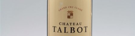 The picture shows a grand cru bottle of Chateau Talbot wine from Bordeaux