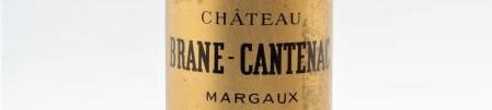 La photo montre une bouteille du grand vin du chateau Brane Cantenac à Margaux à Bordeaux