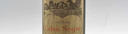 The picture shows a bottle of the great wine chateau Calon Segur Saint Estephe from Bordeaux