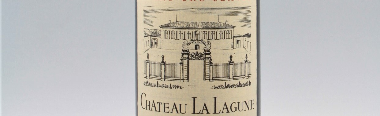 The picture shows a grand cru bottle of Chateau Lagune wine from Bordeaux