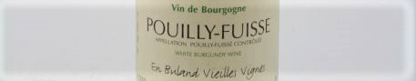 La photo montre une bouteille de vin Pouilly Fuissé En Buland du Domaine de Daniel et Julien Barraud situé dans le Maconnais en Bourgogne