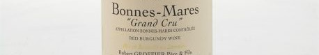 The picture shows a bottle of a GRAND CRU BONNES MARES Chambertin grand cru from robert groffier from Burgundy