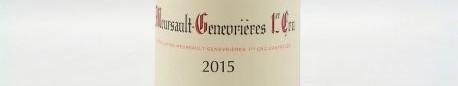 La photo montre une bouteille de vin Meursault Premier cru Genévrières du Domaine de Boisson Vadot situé à Meursault en Bourgogne