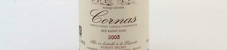La photo montre une bouteille de vin du domaine Robert Michel dans le Rhone