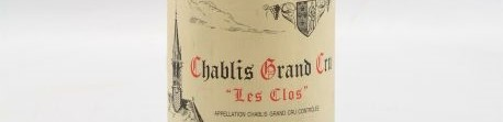 The picture shows a bottle of a chablis grand cru les clos from vincent dauvissat from Burgundy