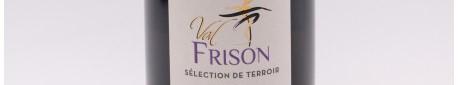 La photo montre une bouteille de Champagne du domaine Val Frison en Champagne