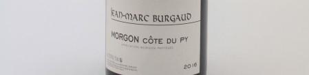 La photo montre une bouteille de l'appellation Morgon du domaine Burgaud dans le Beaujolais.