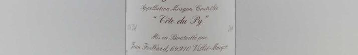 La photo montre une bouteille de l'appellation Morgon du domaine Jean Foillard dans le Beaujolais.