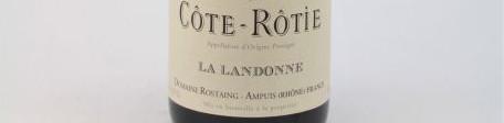 La photo montre une bouteille du vin d'appelation Cote Rotie du domaine René Rostaing en Vallée du Rhone