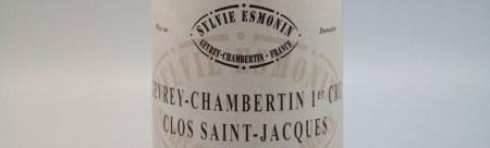La photo montre une bouteille de l'appellation Gevrey Chambertin 1er cru du domaine Sylvie Esmonin en Bourgogne.