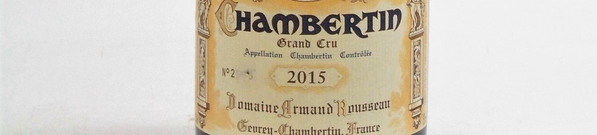The picture shows a bottle of a Chambertin grand cru from Armand Rousseau from Burgundy